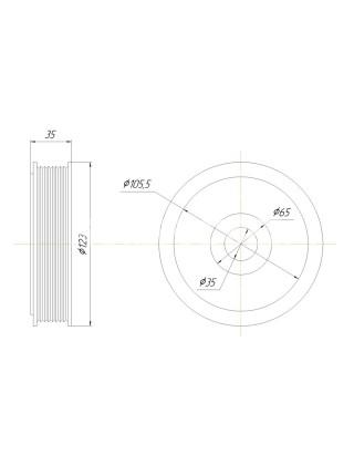 Шкив компрессора Valeo TM 13/15/16 PV8