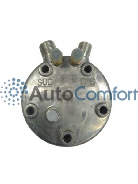 Крышка задняя компрессора 5H11/5H14: вертикальные выходы O'Ring HP #8, LP #10 + заправочные порты и клапан HP