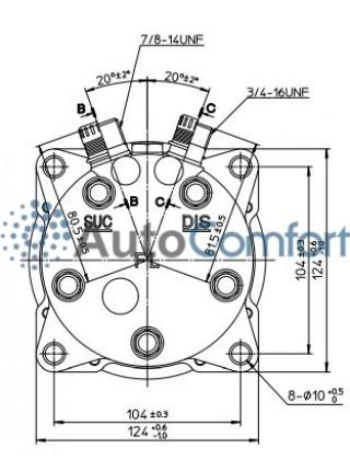 Крышка задняя компрессора 5H11/5H14: вертикальные выходы O'Ring HP #8, LP #10