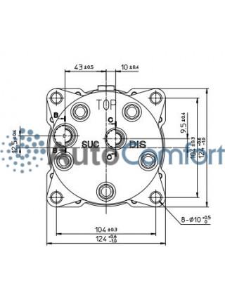 Крышка задняя компрессора 5H11/5H14: горизонтальные выходы O'Ring HP #8, LP #10