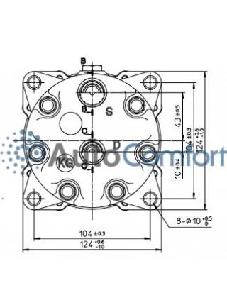 Крышка задняя компрессора 7H15: тип KG (горизонтальные выходы O'Ring HP #8, LP #10)
