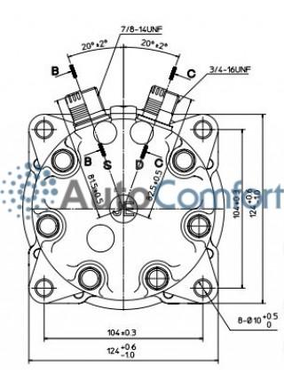 Крышка задняя компрессора 7H15: тип JE (вертикальные выходы O'Ring HP #8, LP #10)