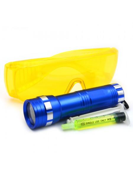 Комплект для обнаружения утечек фреона (фонарик УФ + очки защитные + 1 доза УФ-красителя) Т0116