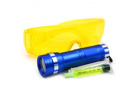 Комплект для обнаружения утечек фреона (фонарик УФ + очки защитные + 1 доза УФ-красителя) Т0116, 1 800.00 р.