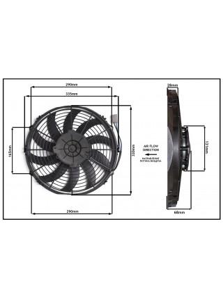 Вентилятор конденсатора Viento 300, 350 осевой Ø13' (крыльчатка 305 мм) 120W 12V PUSH. Аналог Carrier 54-00611-00, 54-00623-00