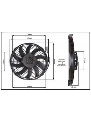 Вентилятор конденсатора ЭЛИНЖ Ø13' (крыльчатка 305 мм) 120W 12V PULL