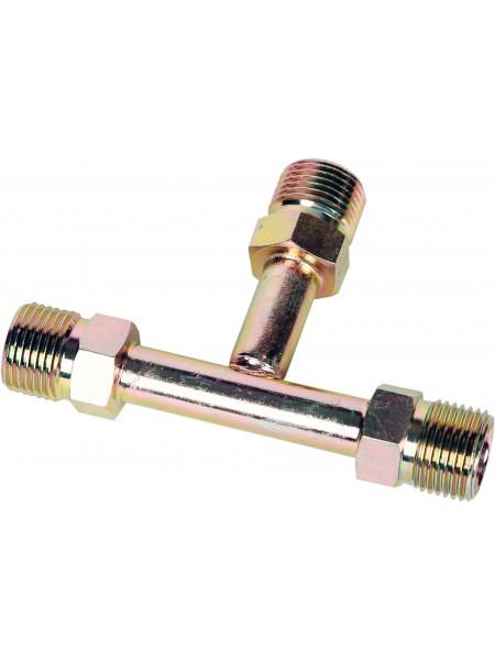 """Фитинг стальной """"тройник"""" T-образный с внешней резьбой 8 мм #6 O-ring (3/8"""")"""